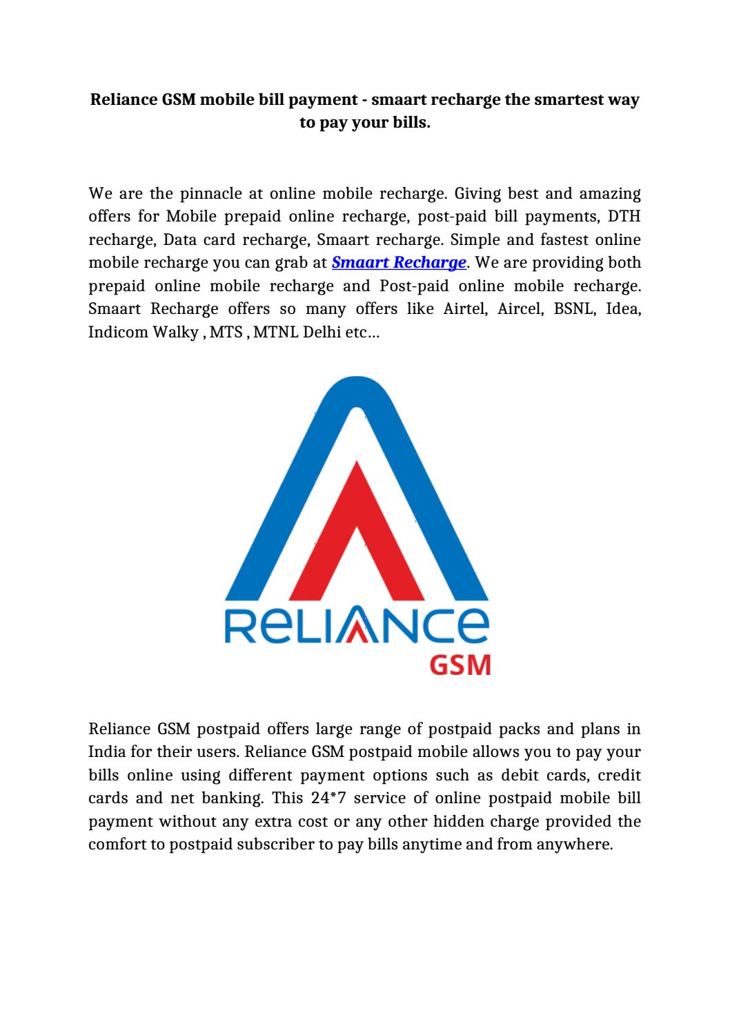 Reliance gsm mobile bill payment by smaartfreebies - issuu
