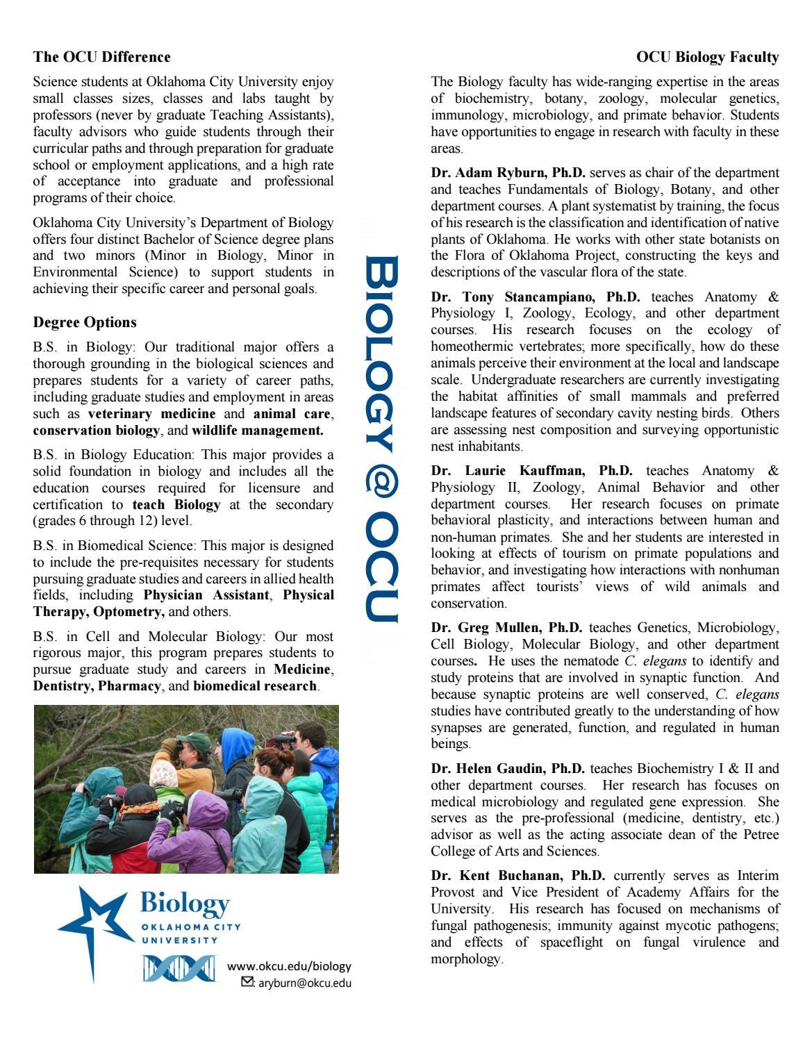 Biology at ocu by oklahoma city university issuu xflitez Gallery