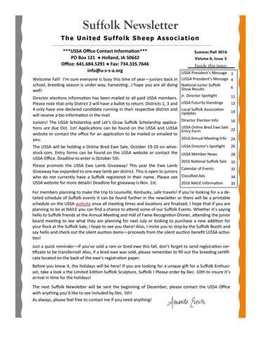 Fall Suffolk Newsletter by United Suffolk Sheep Association