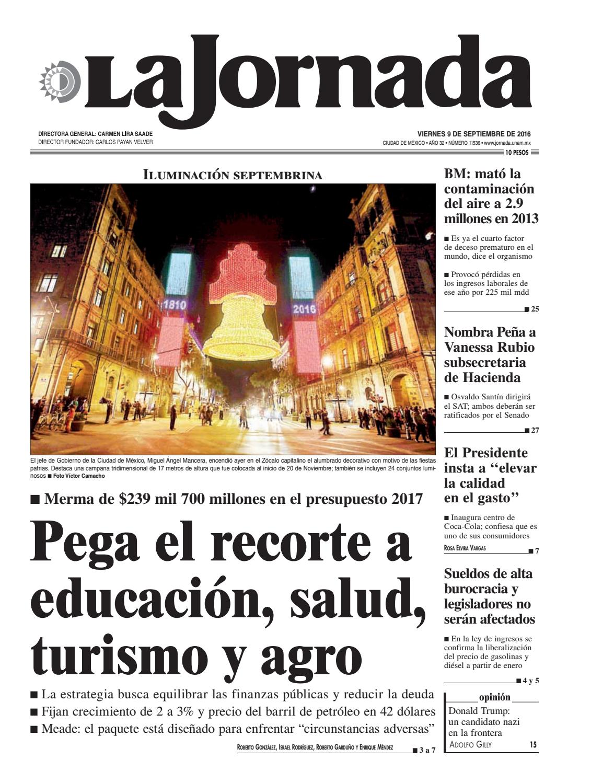 La Jornada, 09/09/2016 by La Jornada: DEMOS Desarrollo de Medios ...