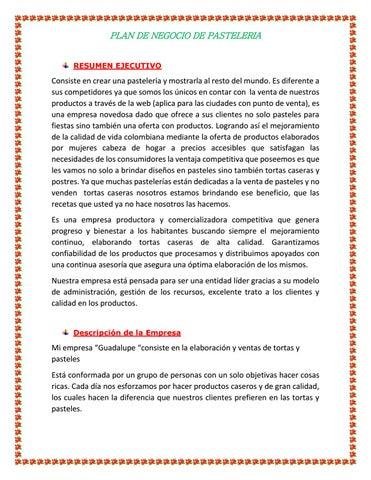 Plan De Negocio De Una Pasteleria By Astrid Leonardo Barreto