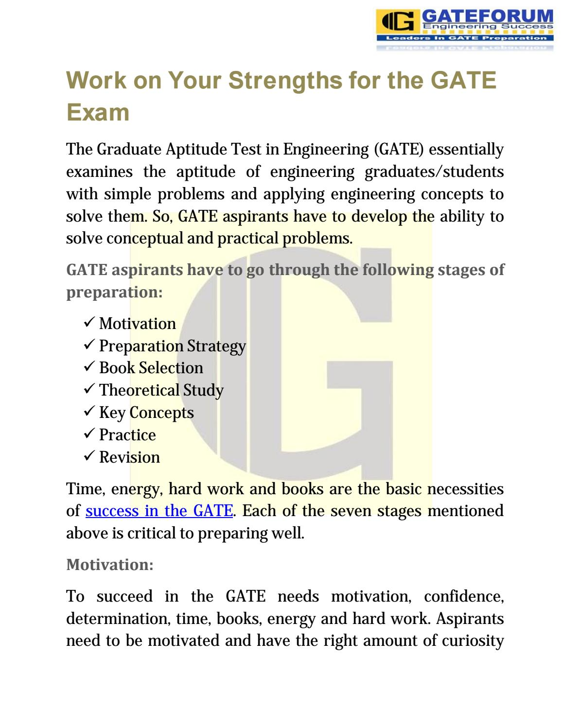 Work on your strengths for the gate exam by Megha Singh - issuu