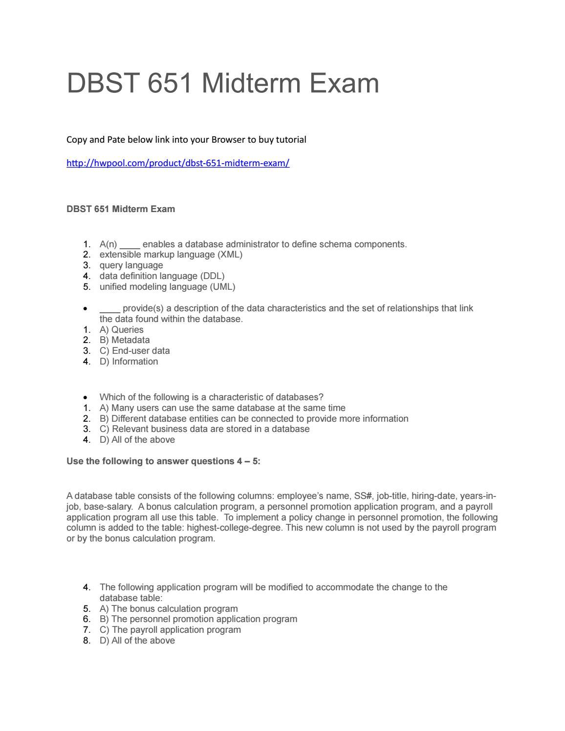 Dbst 651 midterm exam by Patrickdavis11 - issuu