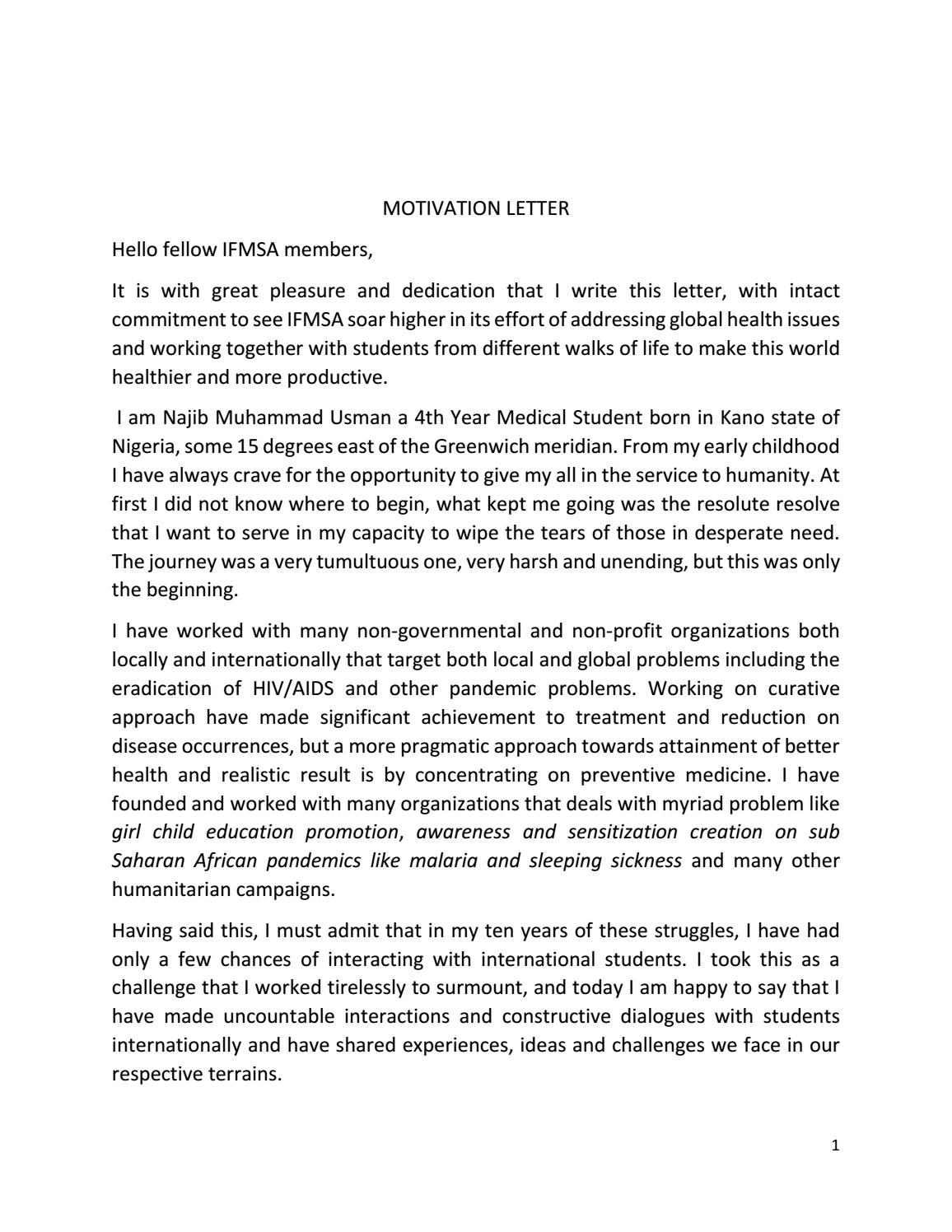 letter of motivation ifmsa motivation letter by najib usman issuu 39169