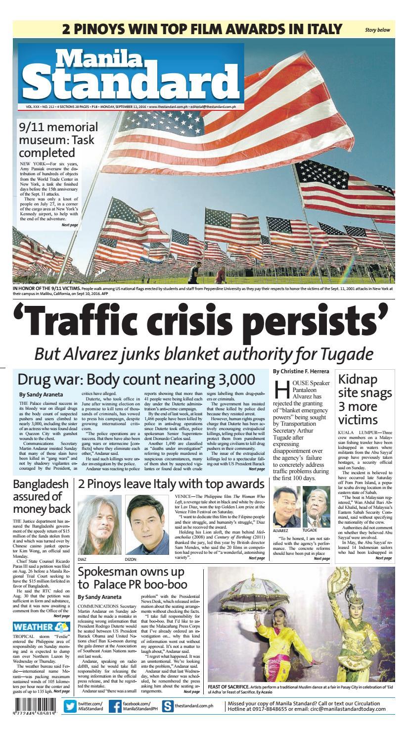 195c7b8bef6 Manila Standard - 2016 September 12 - Monday by Manila Standard - issuu