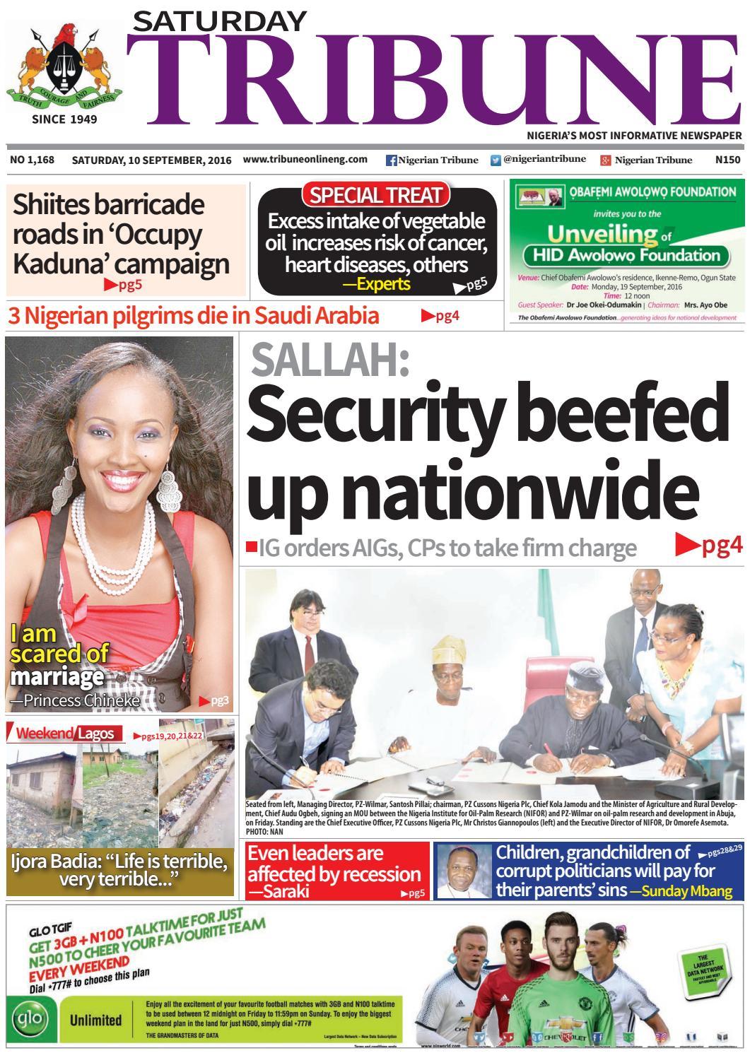 35f8c1e4dbb4 10th September 2016 by Nigerian Tribune - issuu