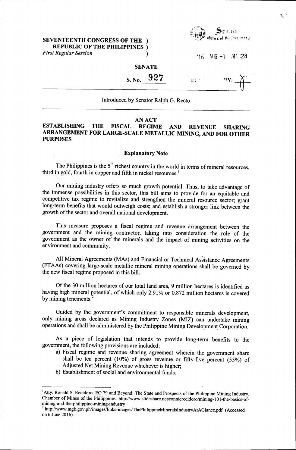 Sb 927 An Act Establishing The Fiscal Regime And Revenue Sharing