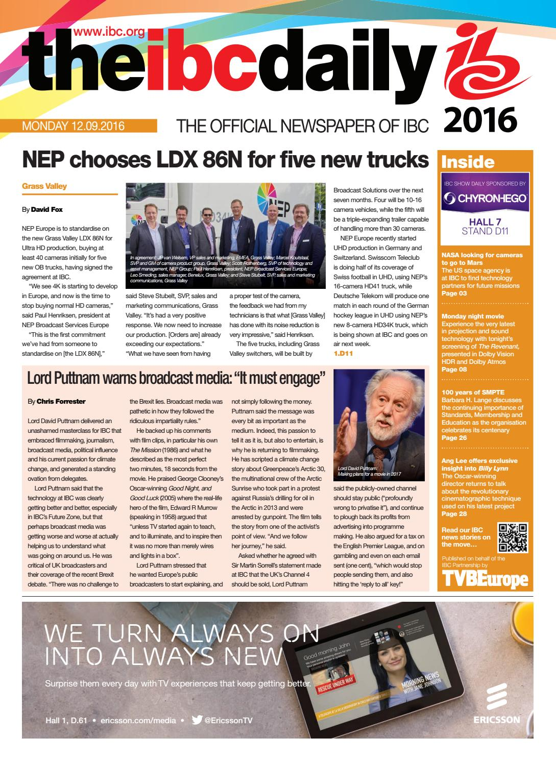 IBC2016 Daily D4 Monday 12 September by Future PLC - issuu