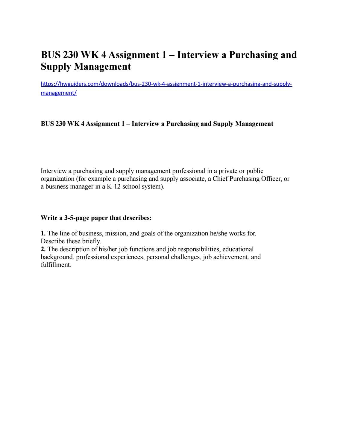 Purchasing Officer Job Description | Bus 230 Wk 4 Assignment 1 Interview A Purchasing And Supply