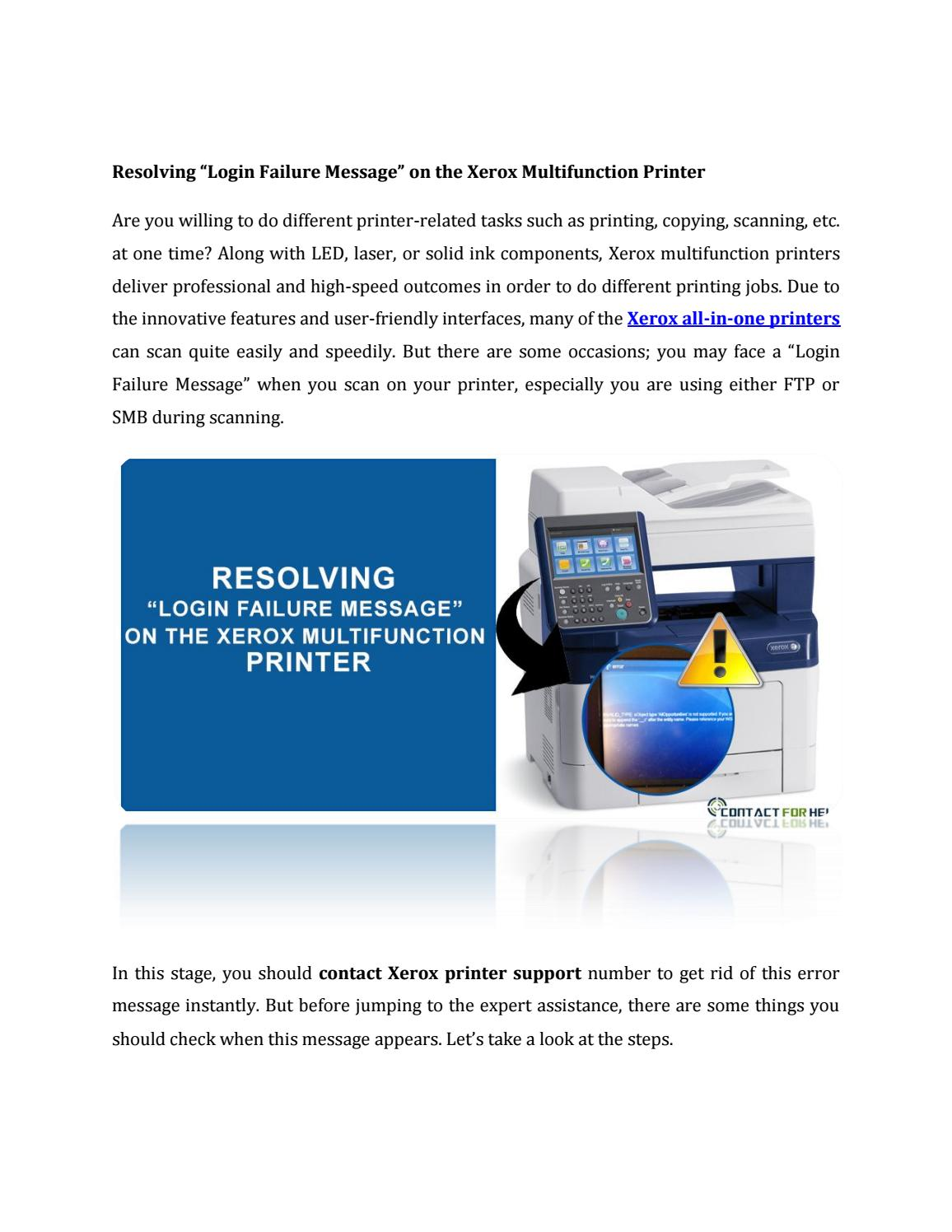 "Resolving ""Login Failure Message"" on the Xerox Multifunction"