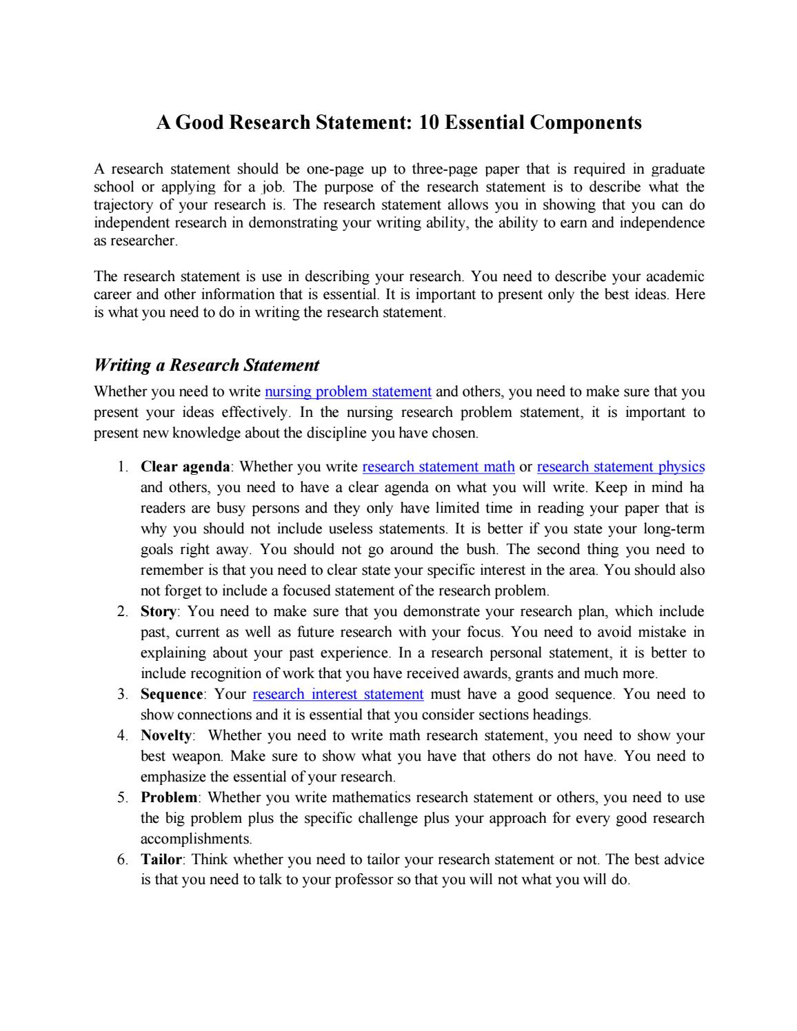 Research Statement 10 Ingredients To Success By Research Statement