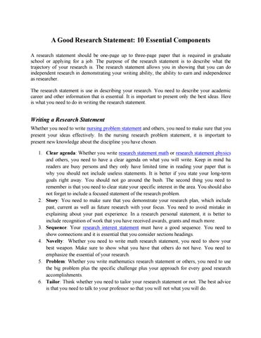 Research Statement  Ingredients To Success By Research Statement