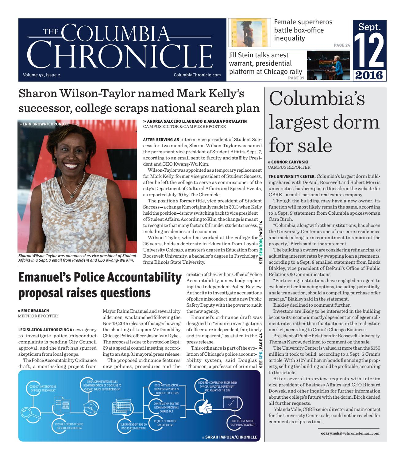the columbia chronicle september 12 2016 by student publications