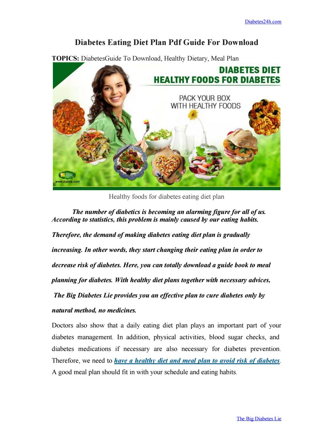 Diabetes Eating Diet Plan Pdf Guide For Download By Hannah Lee Issuu