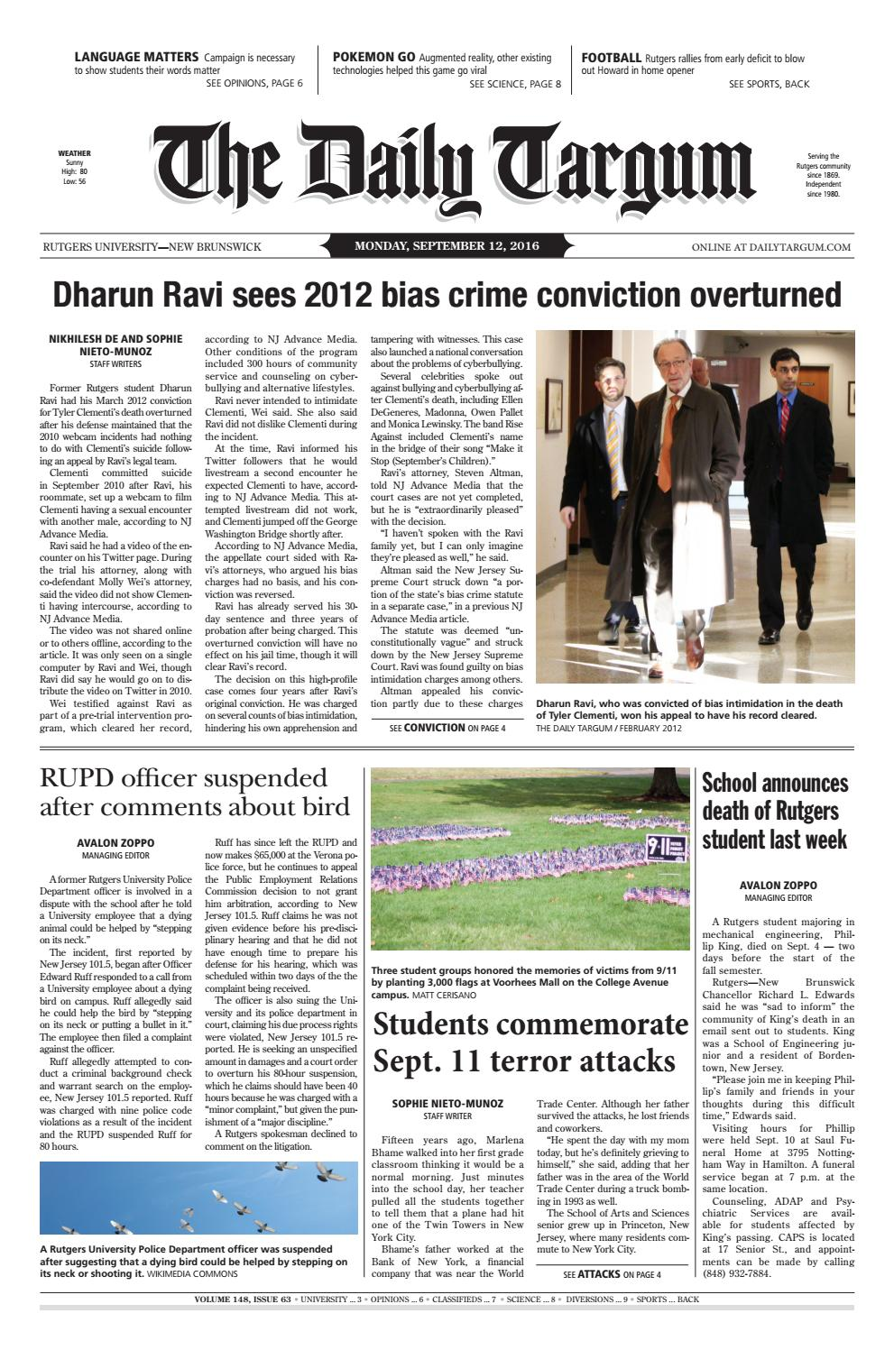 The Daily Targum 2016-09-12 by The Daily Targum - issuu