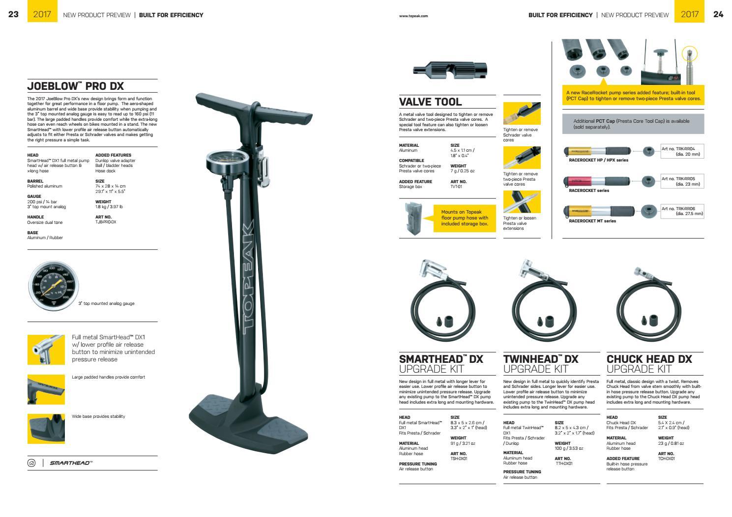 Topeak Joeblow Pro Dx Floor Pump 200 Psi//14Bar with Smarthead Dx1 Full Metal Pump Head