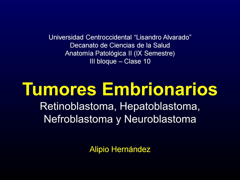Tumores embrionarios (retinoblastoma, hepatoblastoma, nefroblastoma ...