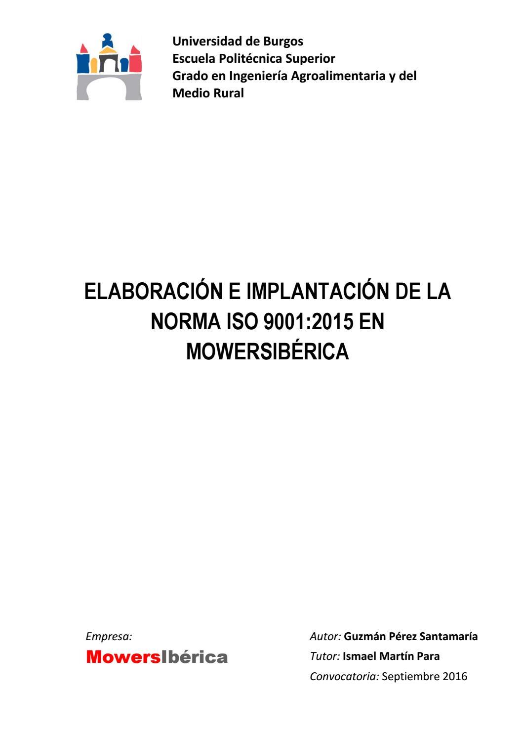 TFG ISO 9001:2015 Guzman Perez Santamaria by Guzman - issuu