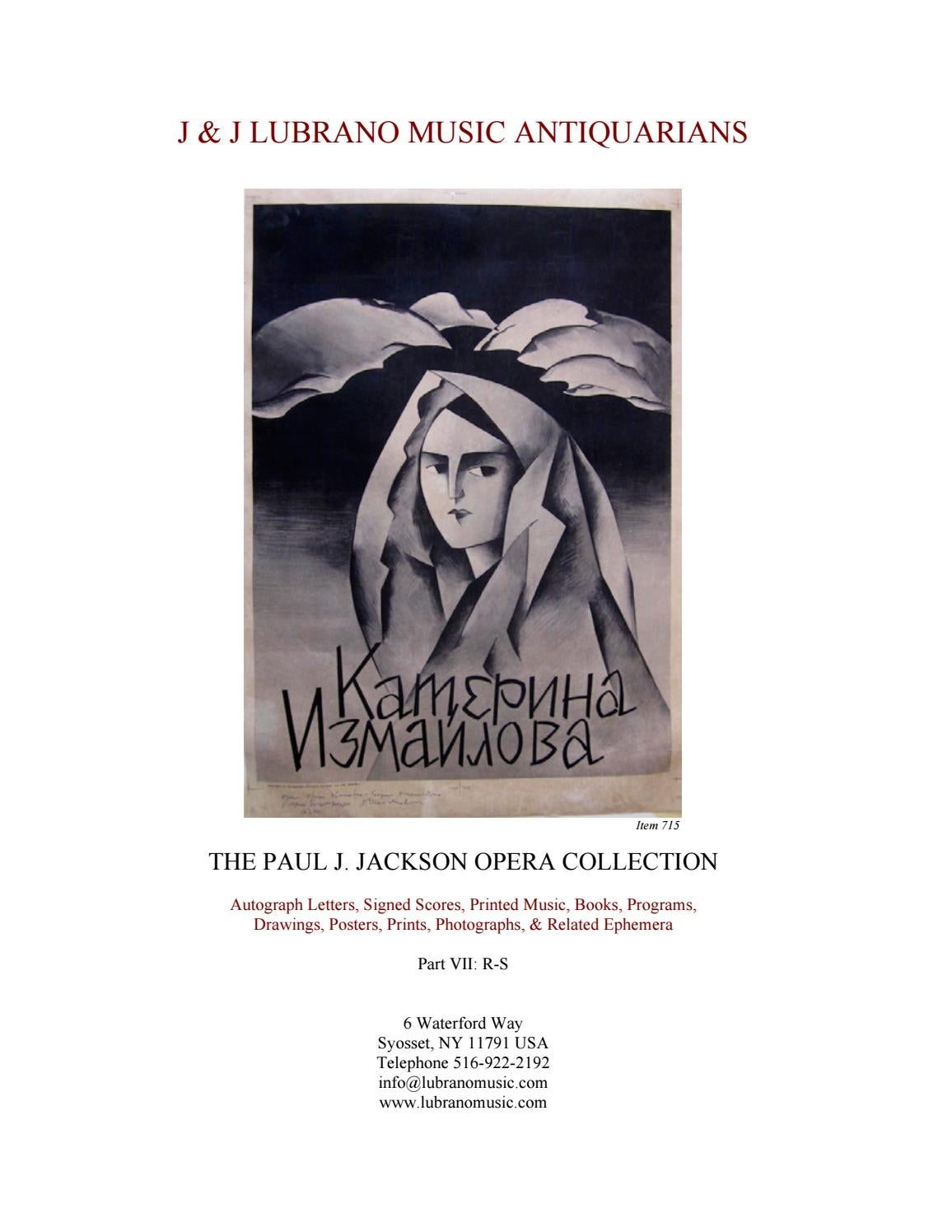 The Paul J. Jackson Opera Collection Part VII: R-S by J & J Lubrano ...