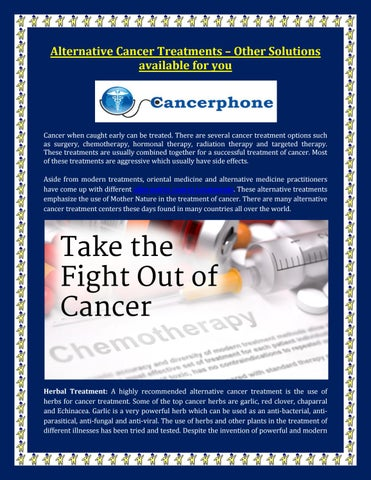 Alternative cancer treatments – other solutions available