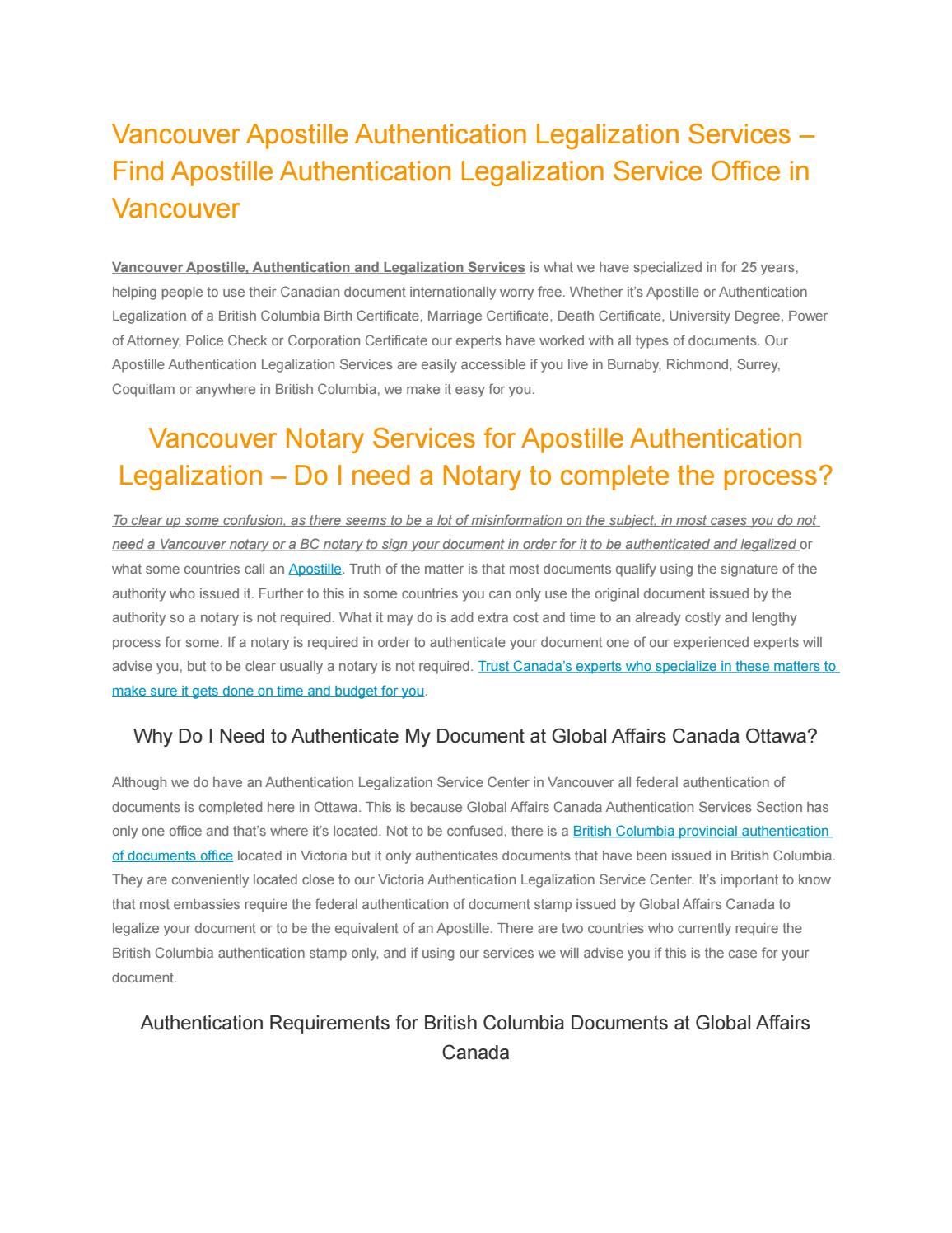 Vancouver apostille authentication legalization service1 by vancouver apostille authentication legalization service1 by authentication legalization services canada issuu aiddatafo Gallery