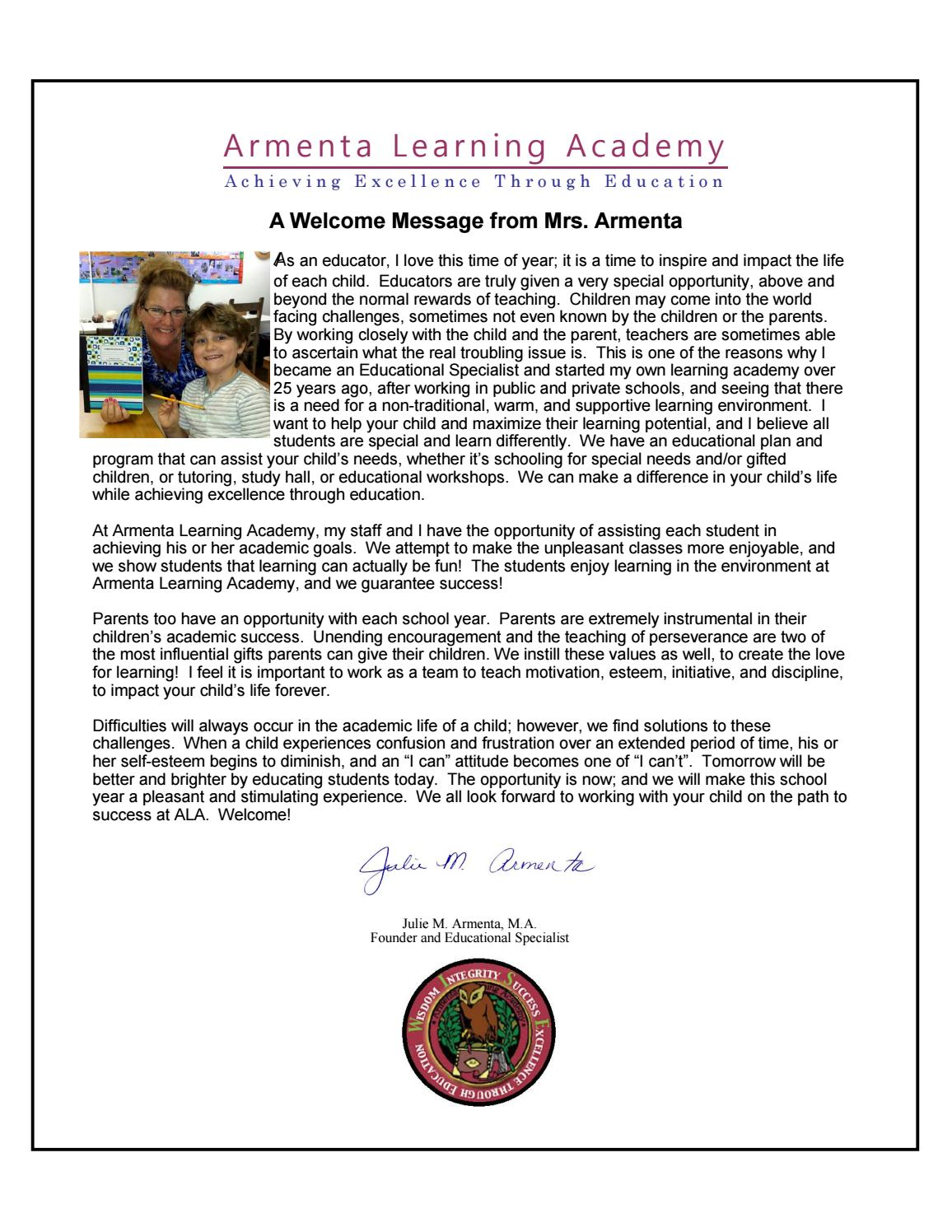 ALA Back to School Welcome Message from Mrs  Armenta by