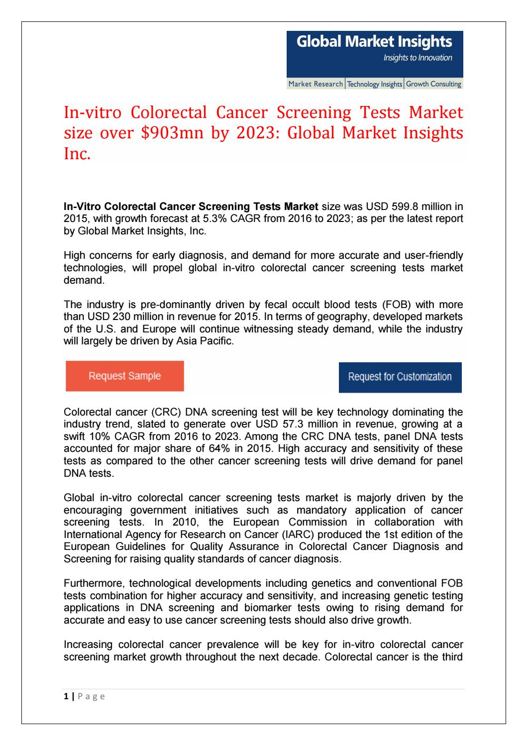 In Vitro Colorectal Cancer Screening Tests Market Size Over 903mn By 2023 By Jueekate Issuu