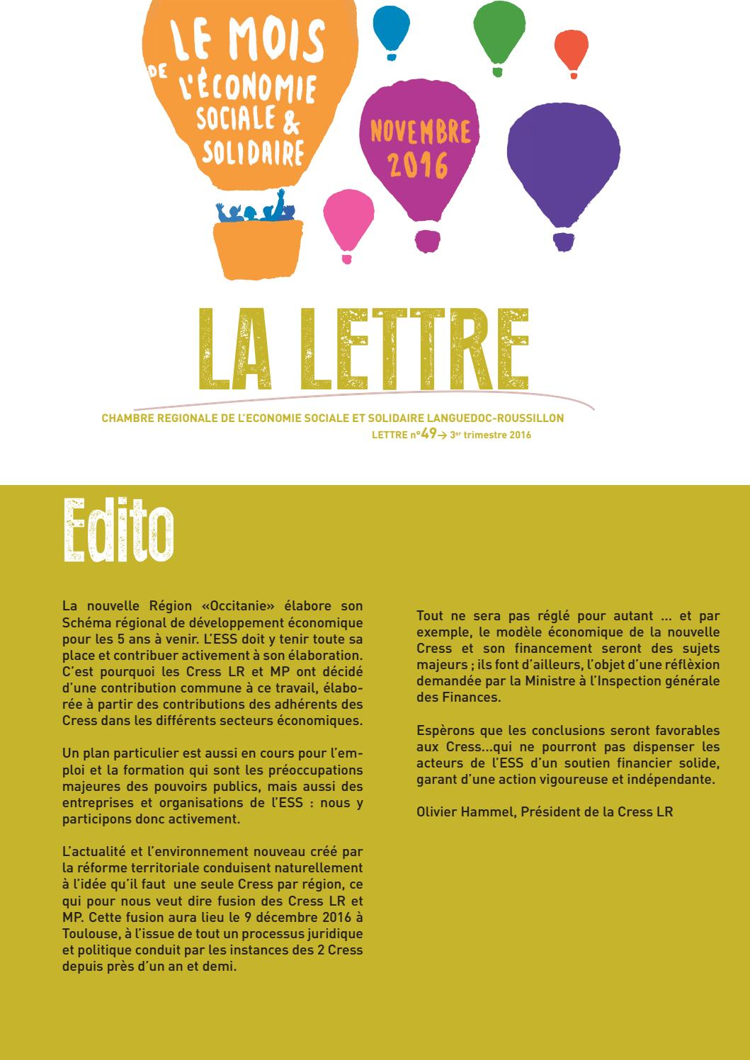 La lettre de la cress lr septembre 2016 by cress occitanie - Chambre regionale de l economie sociale et solidaire ...