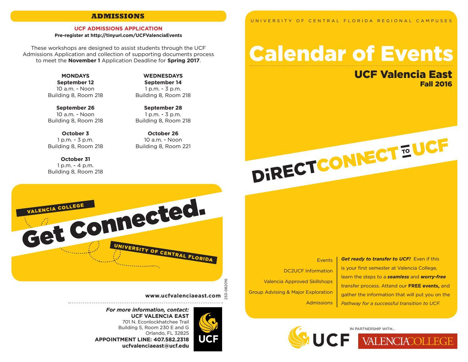 Valencia Calendar.253 082015 Calendar Of Events Fall 16 Valencia East Print 2 By Ucf