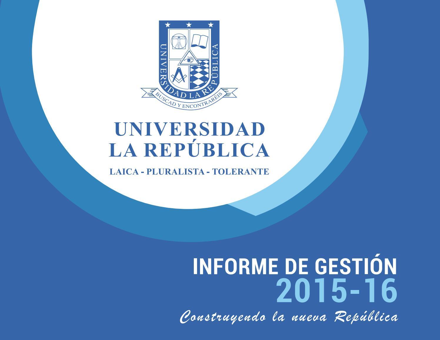 Informe de Gestión Institucional Universidad La República by ...