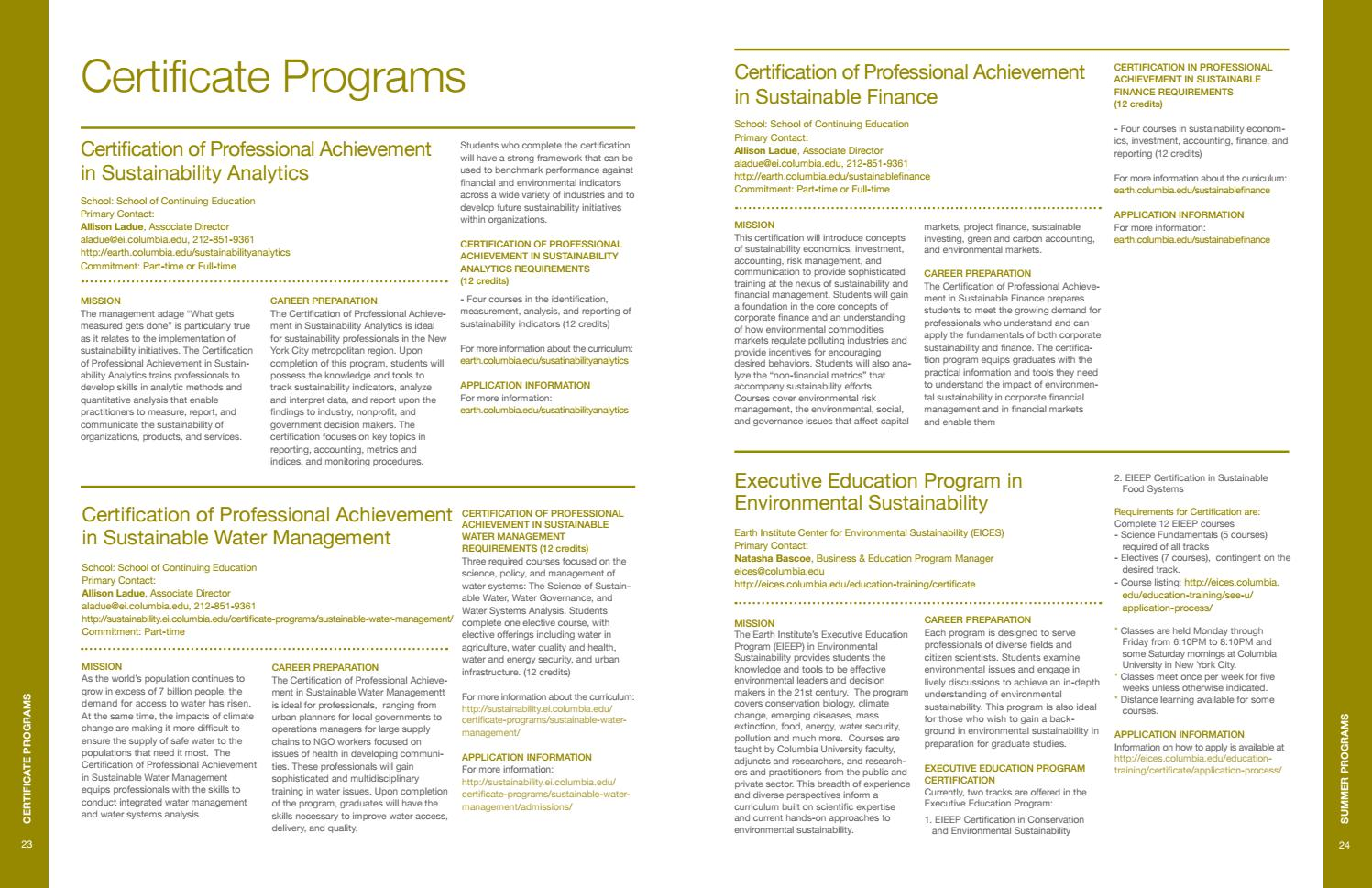 A Guide To Educational Programs In Environmental And Sustainable