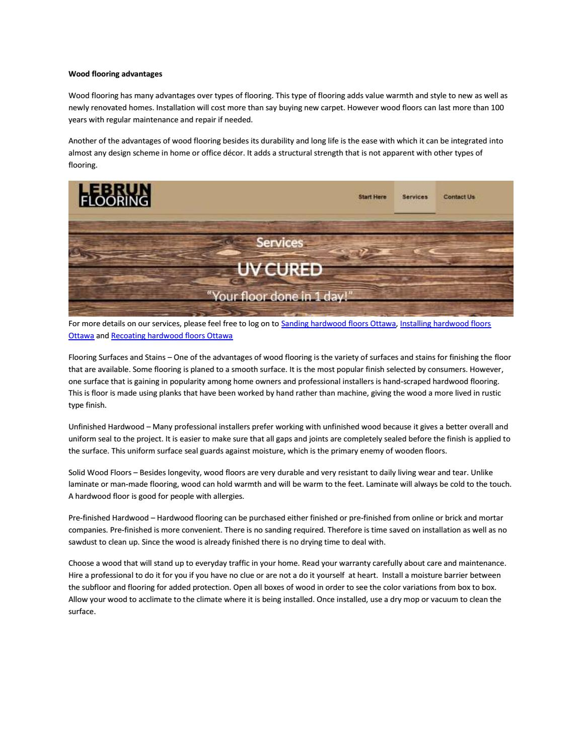Wood Flooring Advantages By Lebrunflooring Issuu