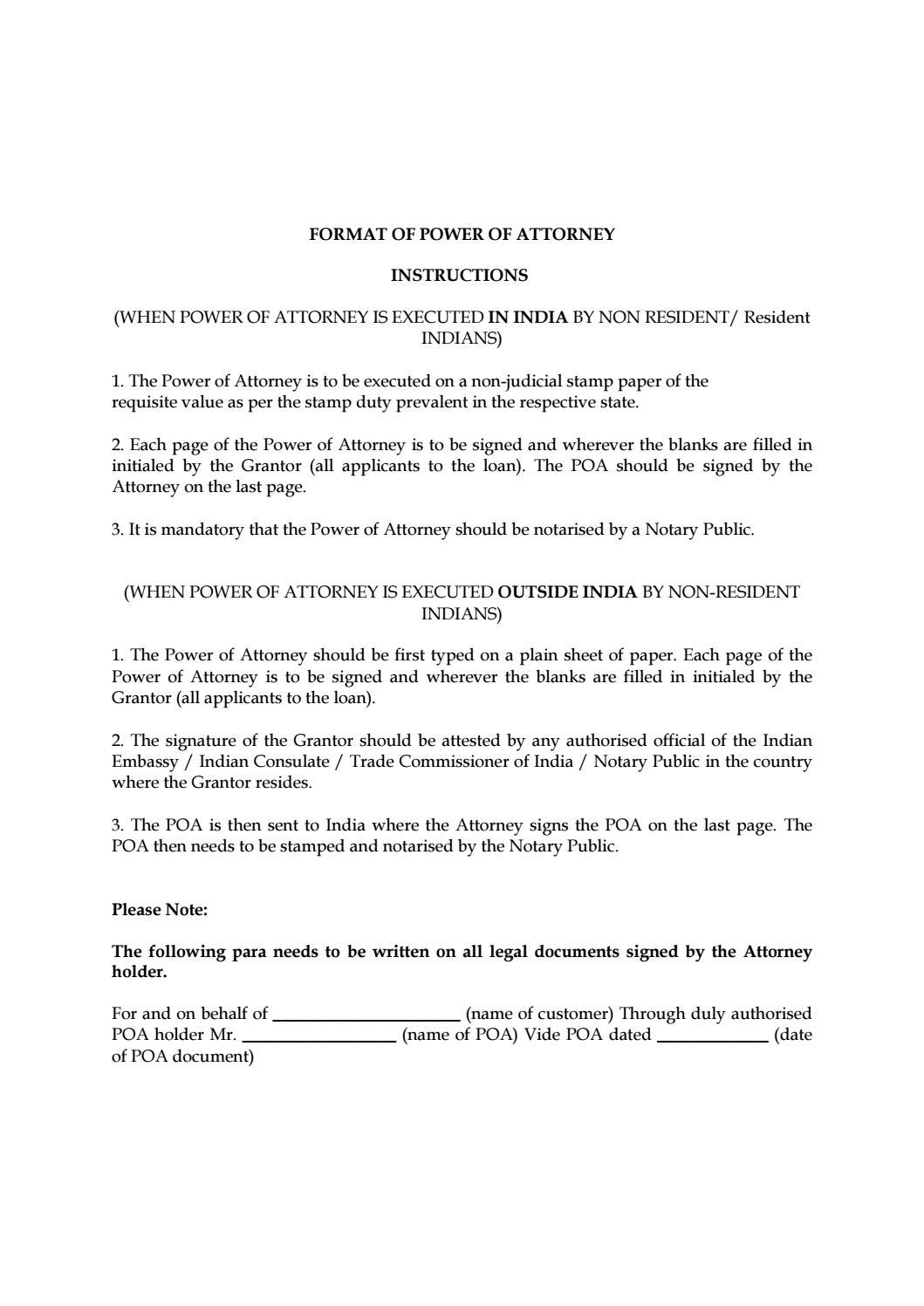 Notarised power of attorney