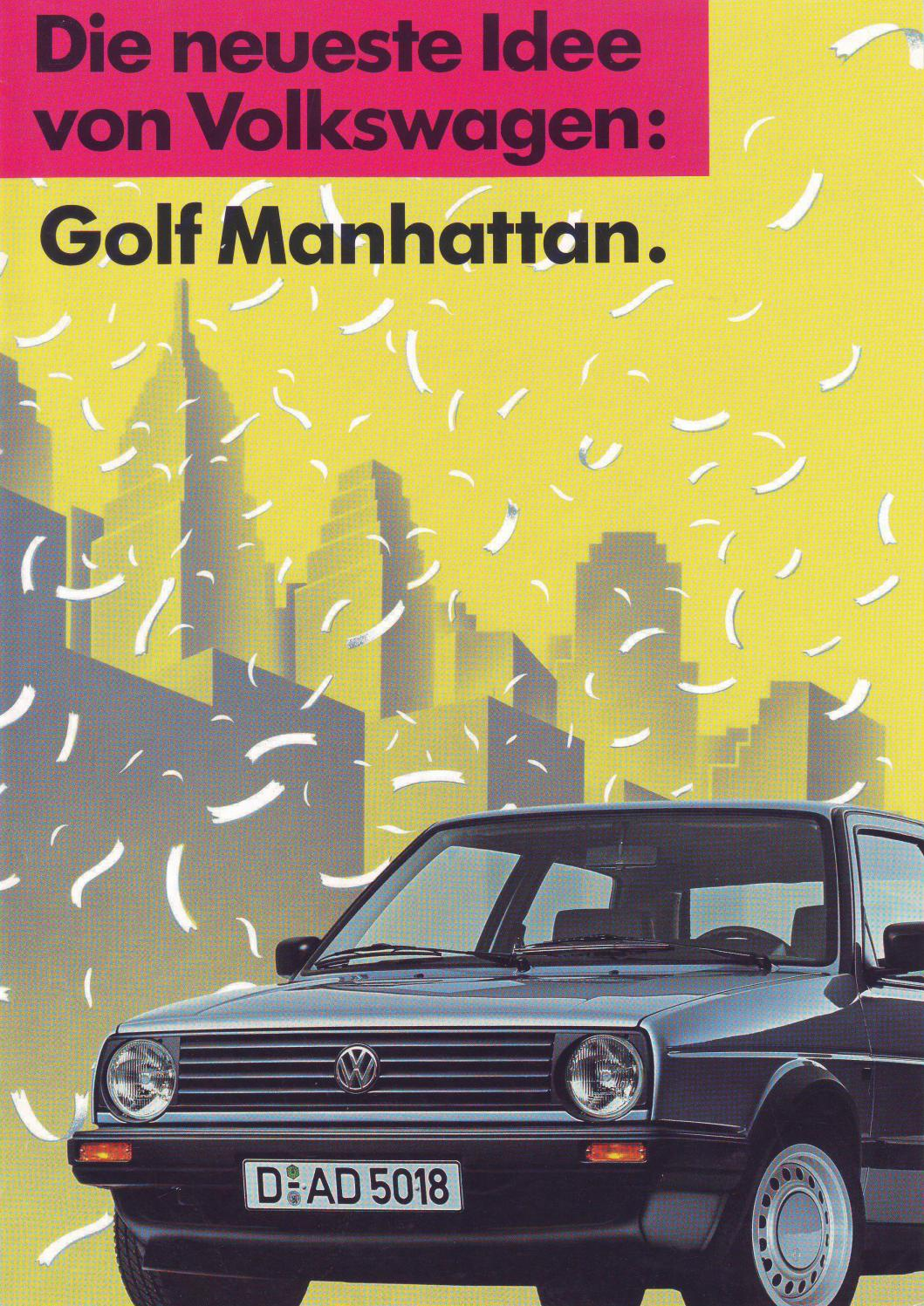 1989 euro vw golf 2 manhattan sales brochure by. Black Bedroom Furniture Sets. Home Design Ideas