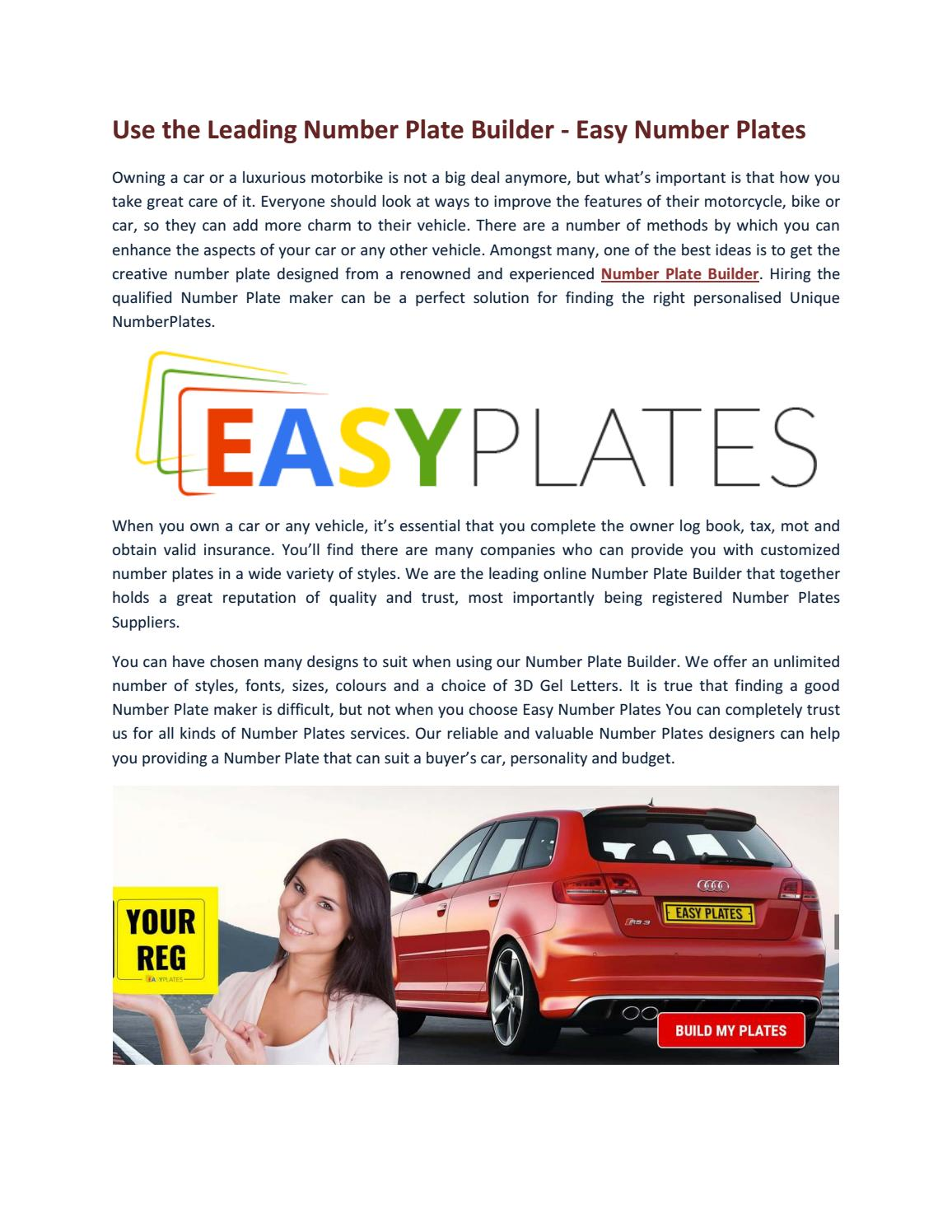 Number Plate Suppliers >> Use The Leading Number Plate Builder Easy Number Plates By