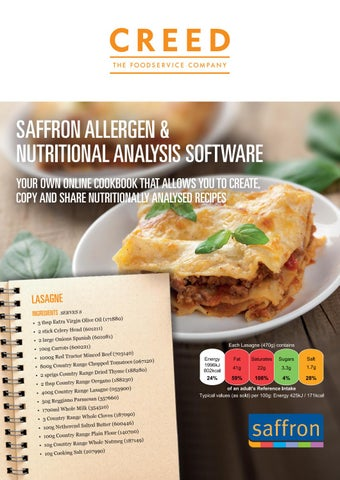 Saffron allergen nutritional analysis software from creed saffron allergen nutritional analysis software your own online cookbook that allows you to create copy and share nutritionally analysed recipes forumfinder Choice Image