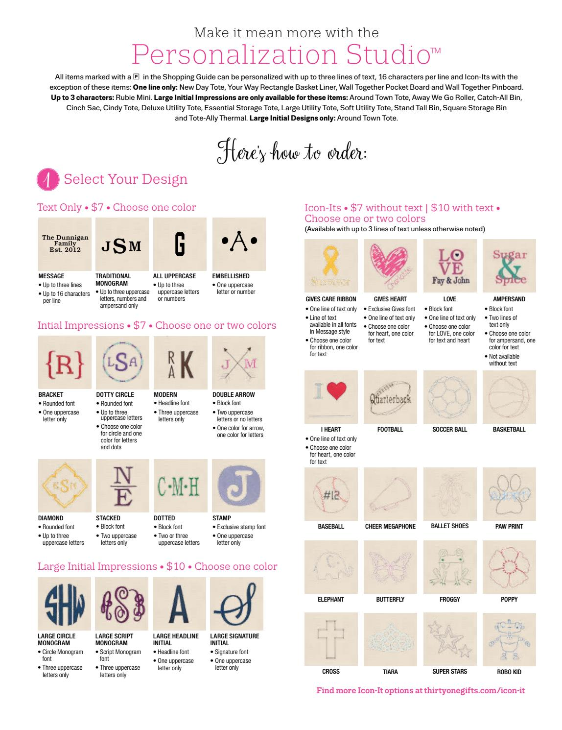 Personalization Studio Thirty One Fall 2016 17 By Thirty