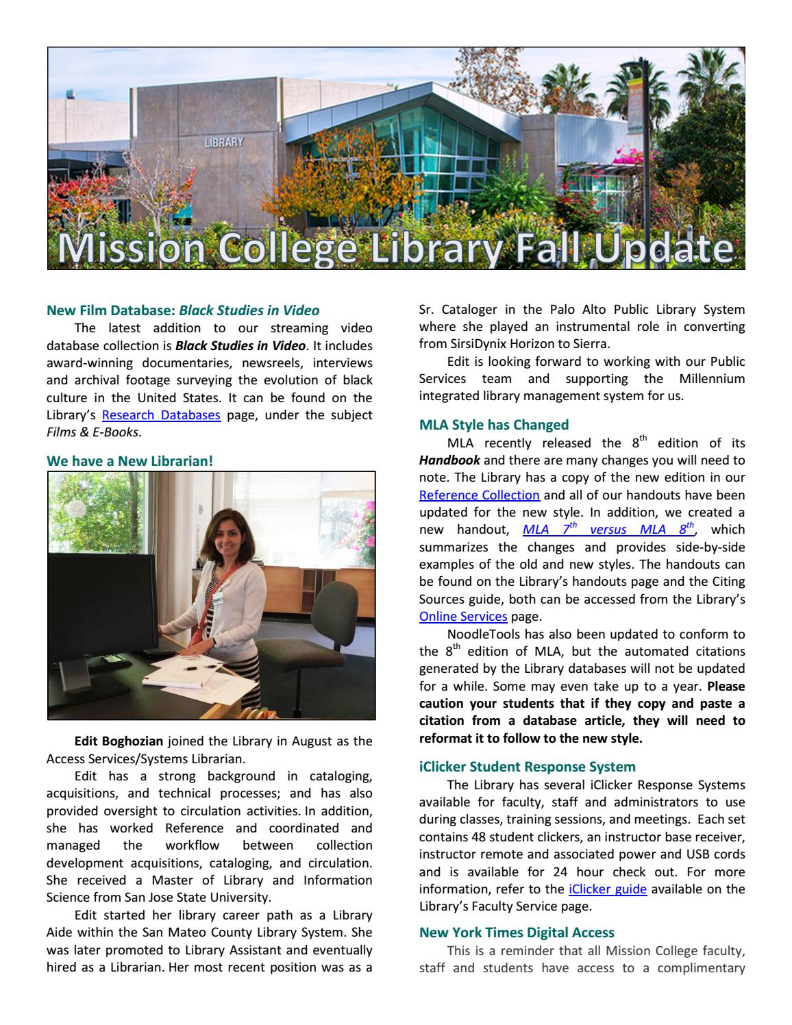 Mission College Library Newsletter Sept 2016 By Mission College Issuu