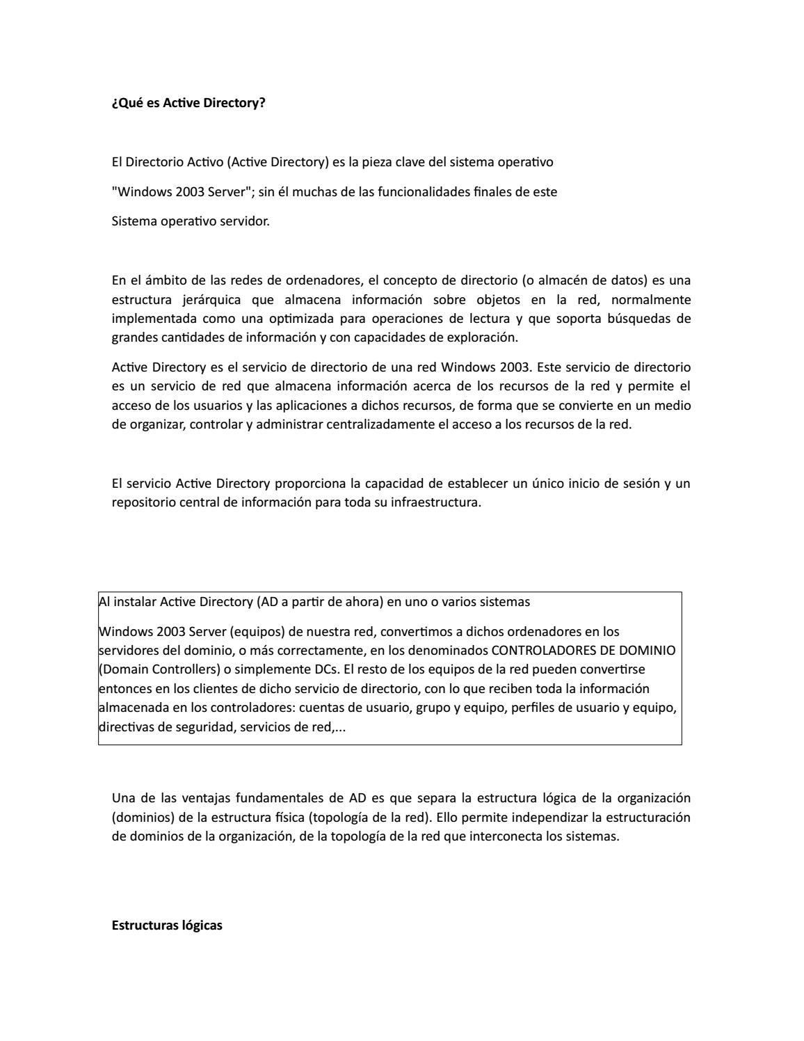 Qué Es Active Directory By Erika Flores Martinez Issuu