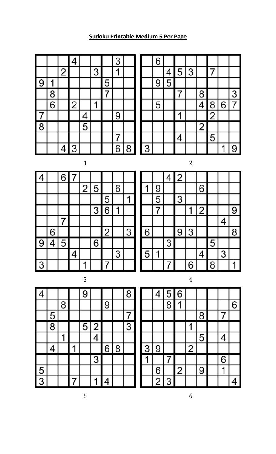graphic regarding Printable Sudoku 4 Per Page called Sudoku printable medium 6 for each web page by way of Aaron Woodyear - issuu