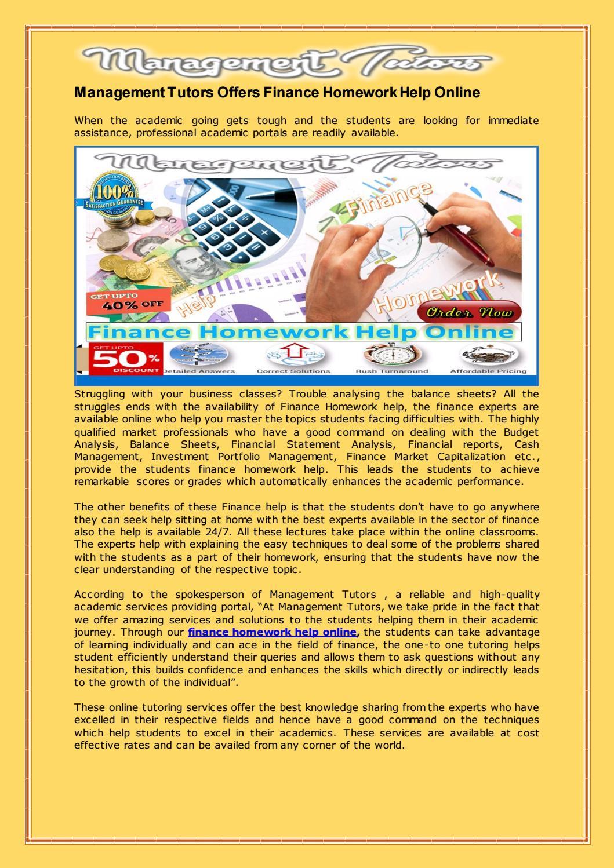 management tutors offers finance homework help online by karen  management tutors offers finance homework help online by karen wilson issuu