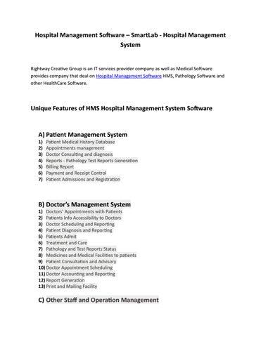 Hospital Management Software – SmartLab - Hospital Management System