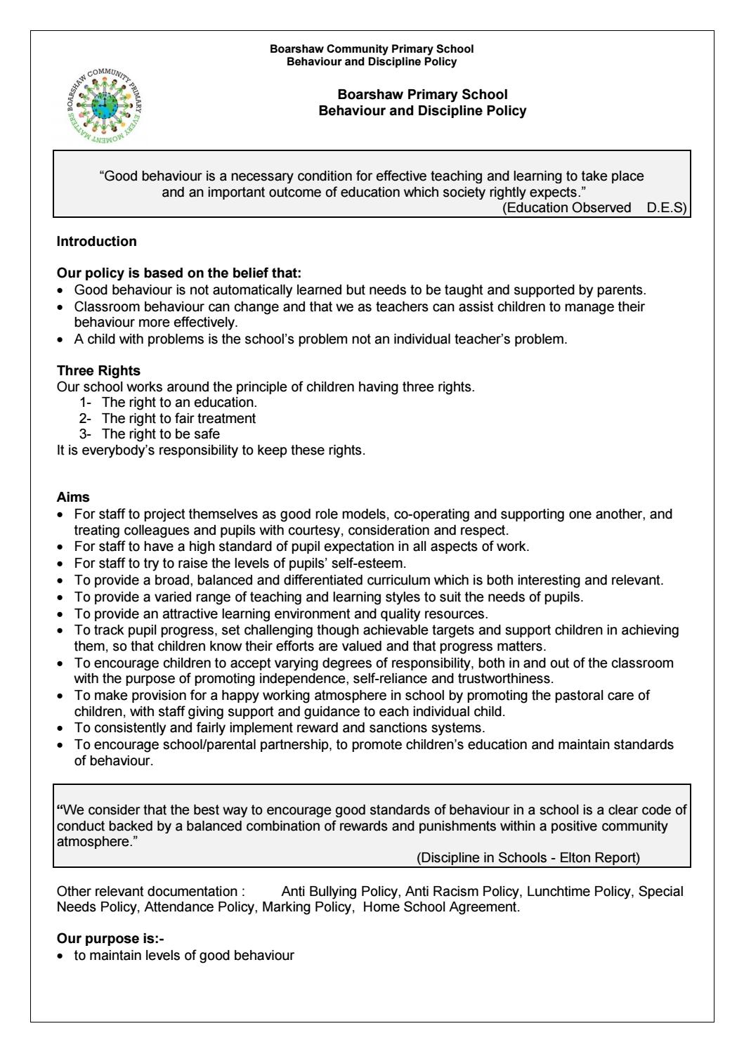 Home school agreement model policy