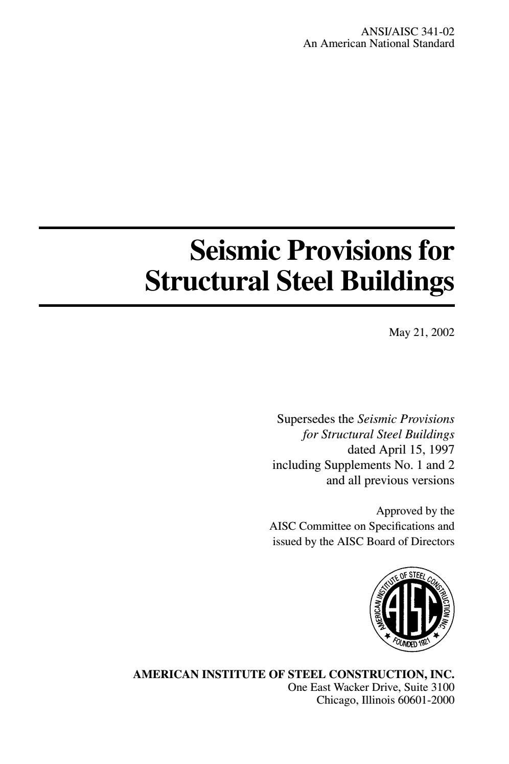 Seismic Provisions ANSI/AISC 341-02 PART. 1 by Pedro Antonio Jiménez  Sánchez - issuu