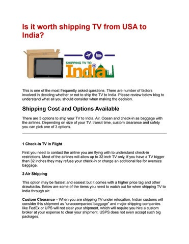 Is it worth shipping tv from usa to india by Purveen Shah