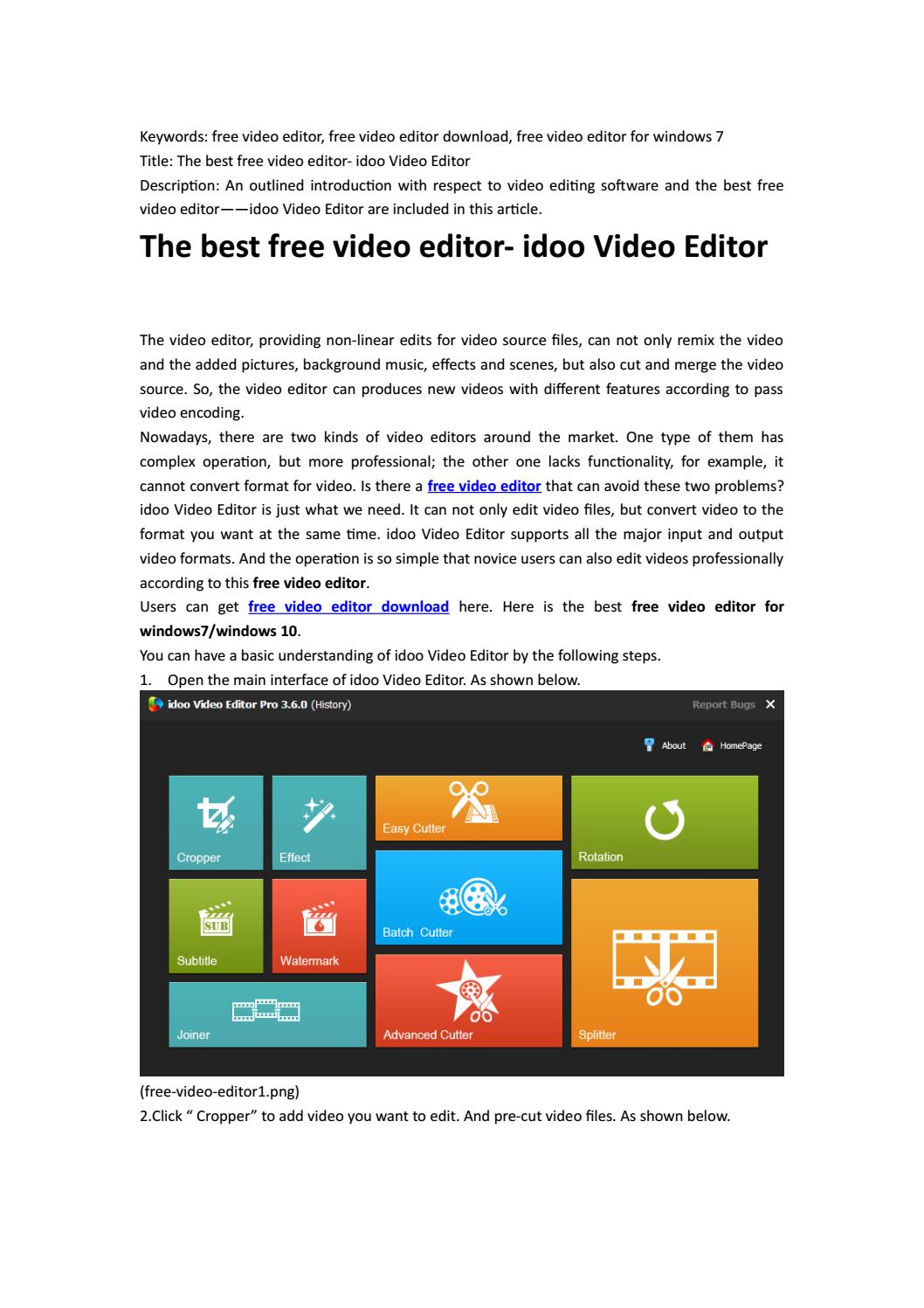 The best free video editor- idoo Video Editor by croolyp11