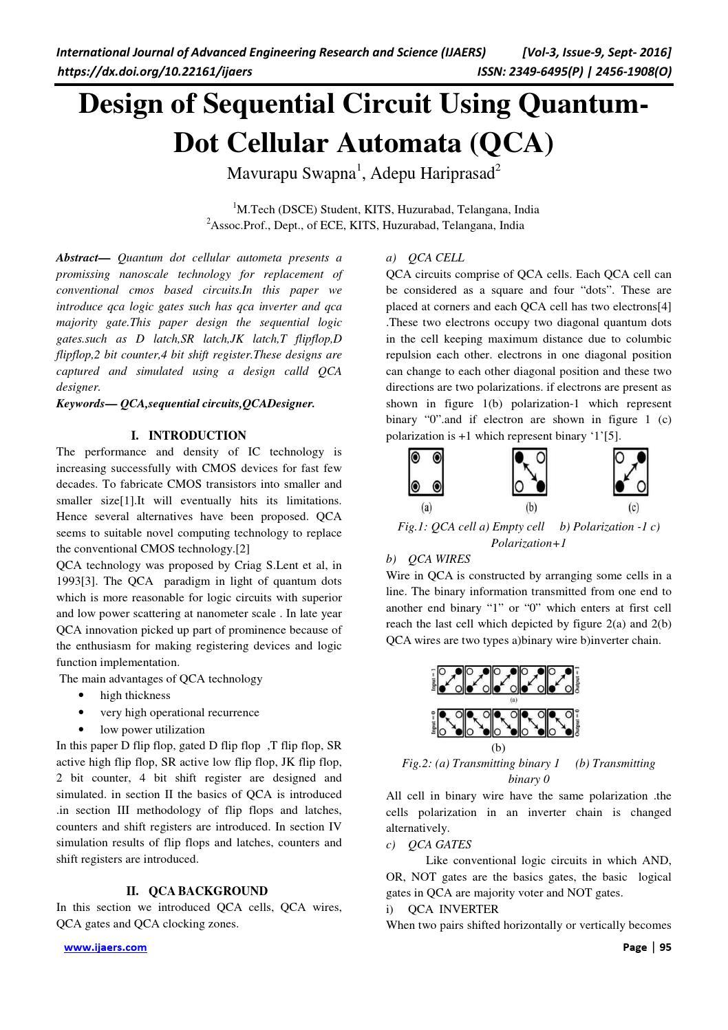 15 Design Of Sequential Circuit Using Quantum Dot Cellular Automata T Flip Flop Diagram Qca By Ijaers Journal Issuu