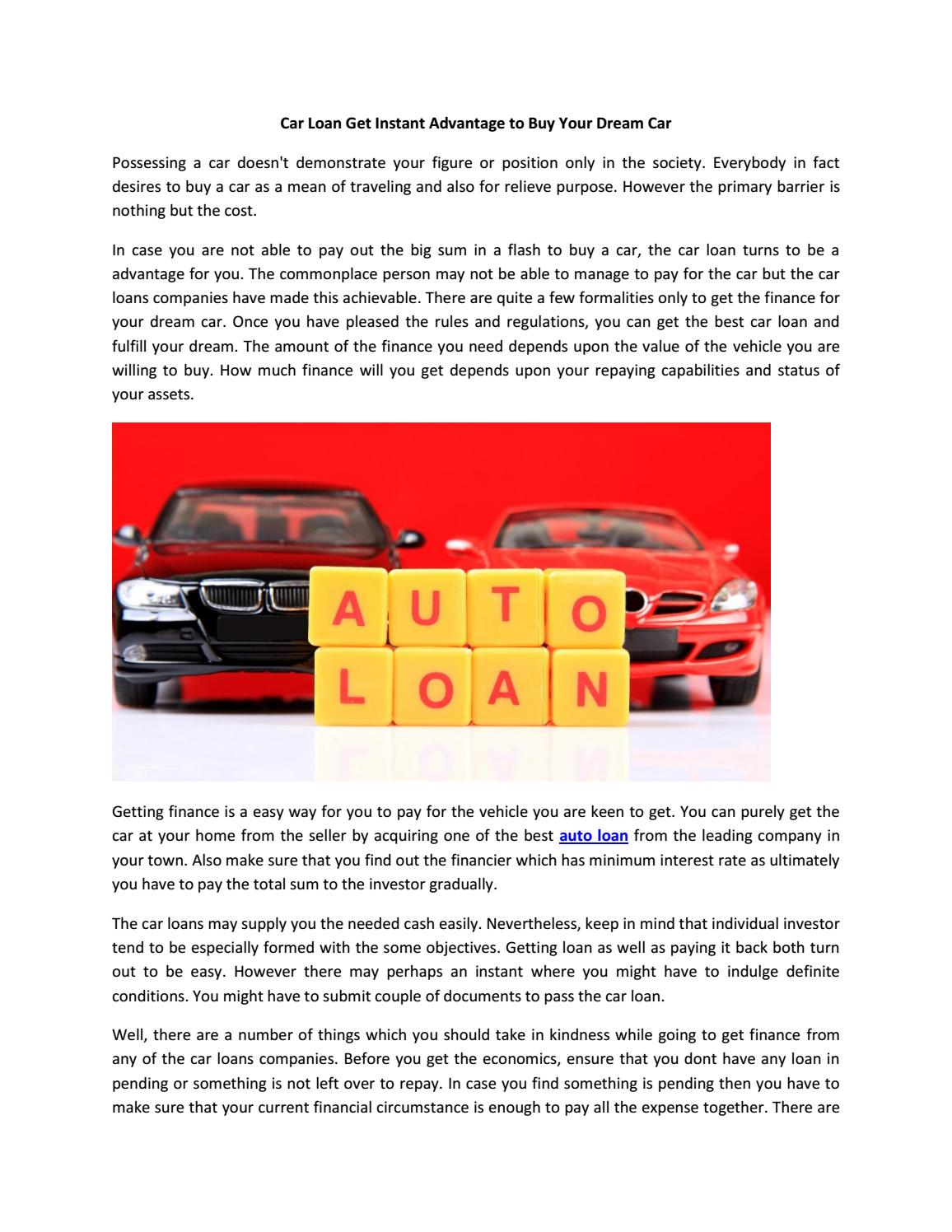 Car loan get instant advantage to buy your dream car by Anil Surma ...