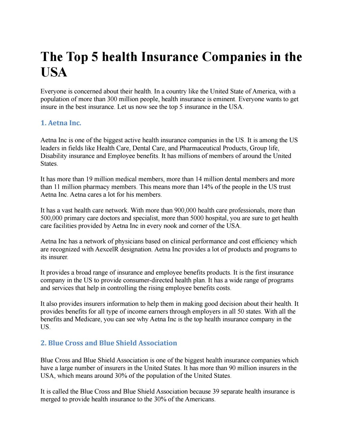 Best Rated Health Insurance Companies >> The Top 5 Health Insurance Companies In The Usa By Borhan