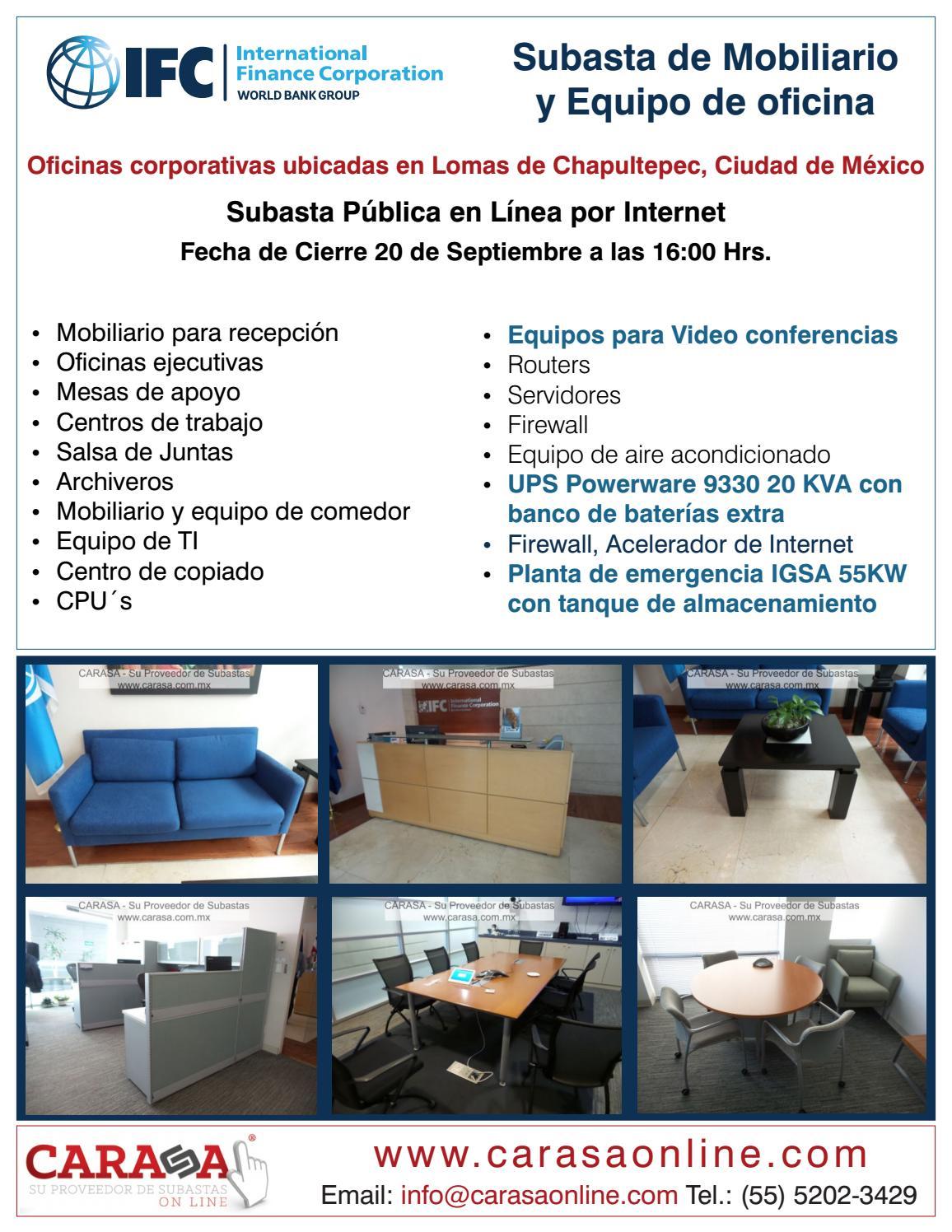 Subasta de mobiliario y equipo de oficina ifc by carasa for Mobiliario y equipo